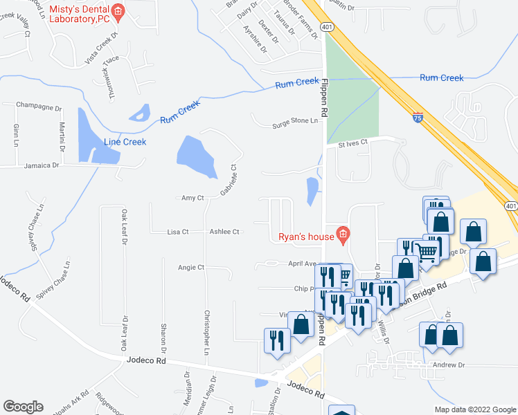 map of restaurants, bars, coffee shops, grocery stores, and more near 181 Watercress Court in Stockbridge