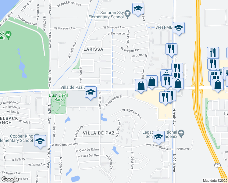 map of restaurants, bars, coffee shops, grocery stores, and more near 10225 West Camelback Road in Phoenix