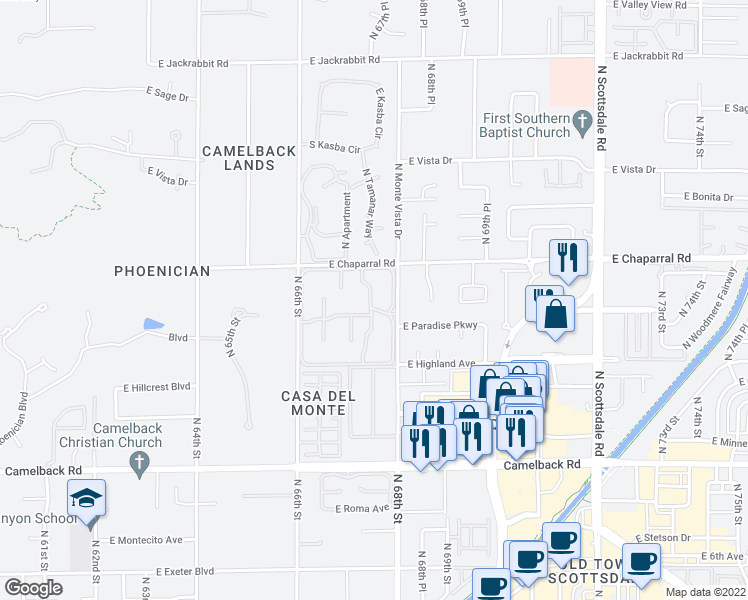 map of restaurants, bars, coffee shops, grocery stores, and more near 4800 North 68th Street in Scottsdale