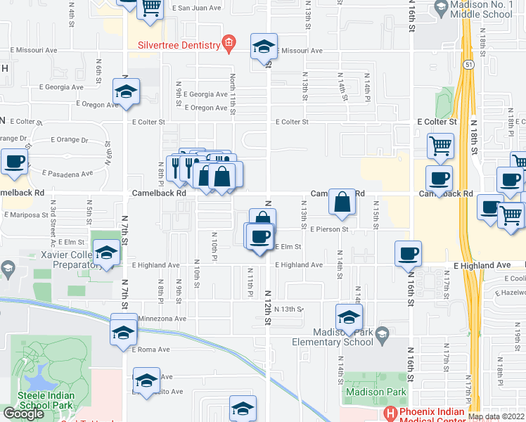 map of restaurants, bars, coffee shops, grocery stores, and more near 1033 East Bethany Home Road in Phoenix