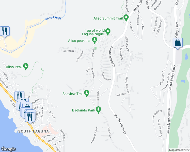 map of restaurants, bars, coffee shops, grocery stores, and more near 58 Marseille in Laguna Niguel