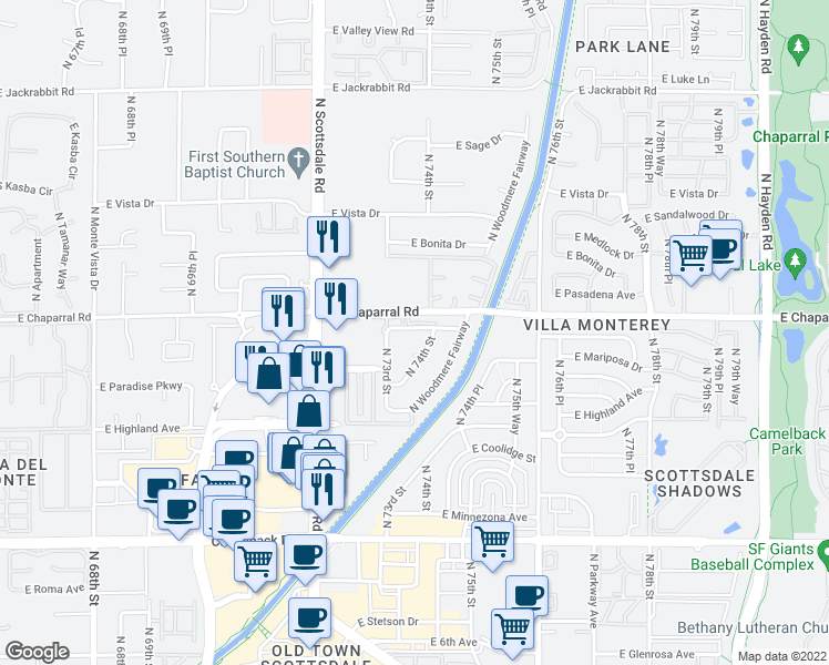 map of restaurants, bars, coffee shops, grocery stores, and more near 7325 East Northland Drive in Scottsdale