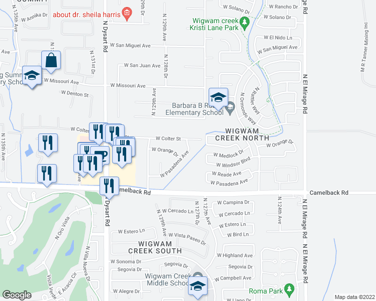 map of restaurants, bars, coffee shops, grocery stores, and more near West Pasadena Avenue in Maricopa County