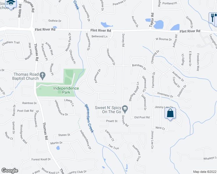 map of restaurants, bars, coffee shops, grocery stores, and more near 8971 Ashwood Drive in Riverdale
