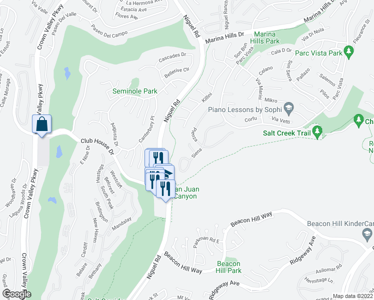 map of restaurants, bars, coffee shops, grocery stores, and more near 59 Siena in Laguna Niguel