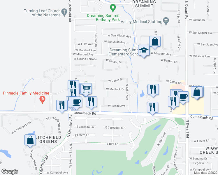map of restaurants, bars, coffee shops, grocery stores, and more near 13616 West Medlock Drive in Litchfield Park