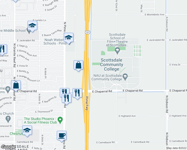 map of restaurants, bars, coffee shops, grocery stores, and more near 9000 East Chaparral Road in Scottsdale