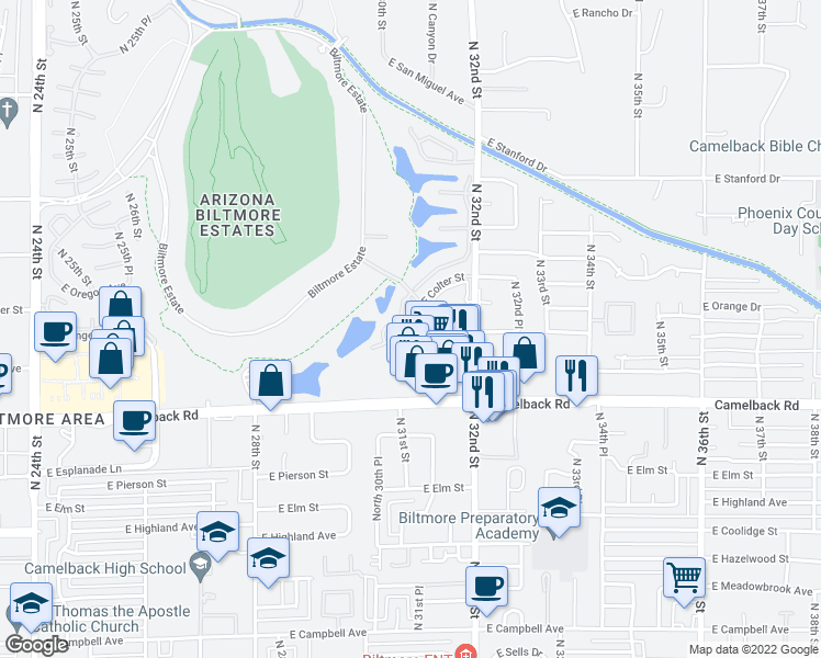 map of restaurants, bars, coffee shops, grocery stores, and more near 5122 North 31st Way in Phoenix