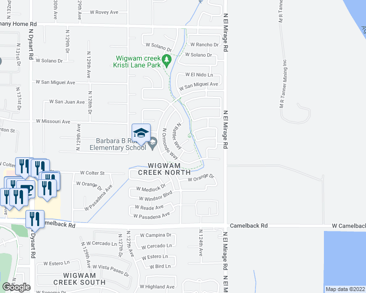 map of restaurants, bars, coffee shops, grocery stores, and more near 5365 North Rattler Way in Litchfield Park