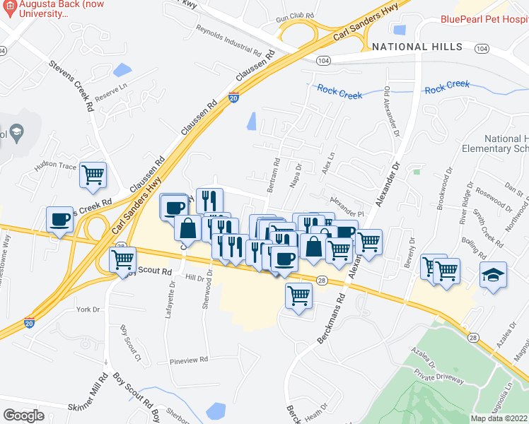 map of restaurants, bars, coffee shops, grocery stores, and more near Bertram Road in Augusta