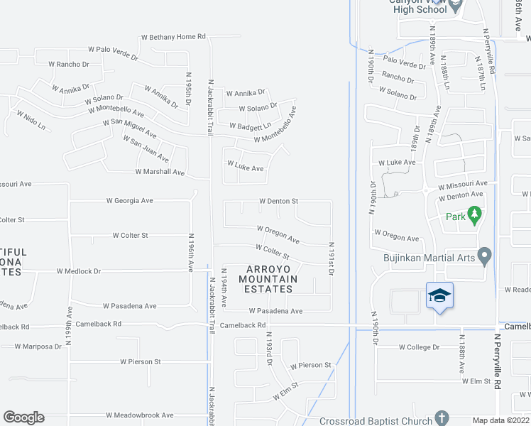 map of restaurants, bars, coffee shops, grocery stores, and more near 5405 North Valisa Court in Litchfield Park