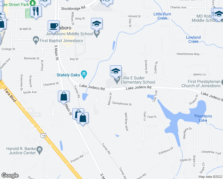 map of restaurants, bars, coffee shops, grocery stores, and more near 568-580 Lake Jodeco Road in Jonesboro