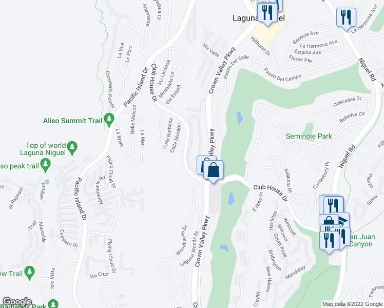 map of restaurants, bars, coffee shops, grocery stores, and more near 30902 Club House Drive in Laguna Niguel
