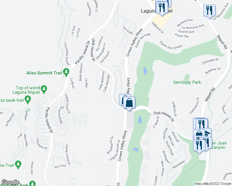 map of restaurants, bars, coffee shops, grocery stores, and more near 30902 Clubhouse Drive in Laguna Niguel