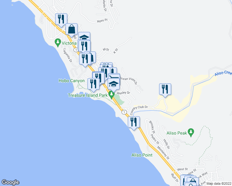 map of restaurants, bars, coffee shops, grocery stores, and more near 21600 Wesley Drive in Laguna Beach