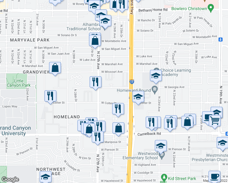map of restaurants, bars, coffee shops, grocery stores, and more near 2541 West Georgia Avenue in Phoenix
