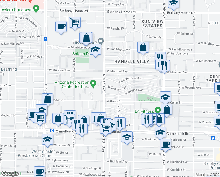 map of restaurants, bars, coffee shops, grocery stores, and more near 1323 West Georgia Avenue in Phoenix