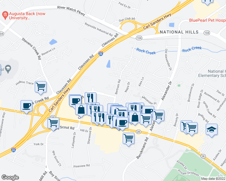 map of restaurants, bars, coffee shops, grocery stores, and more near 2307 Lions Gate Drive in Augusta