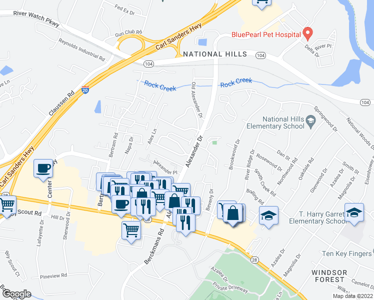 map of restaurants, bars, coffee shops, grocery stores, and more near 2505 Carriage Creek in Augusta