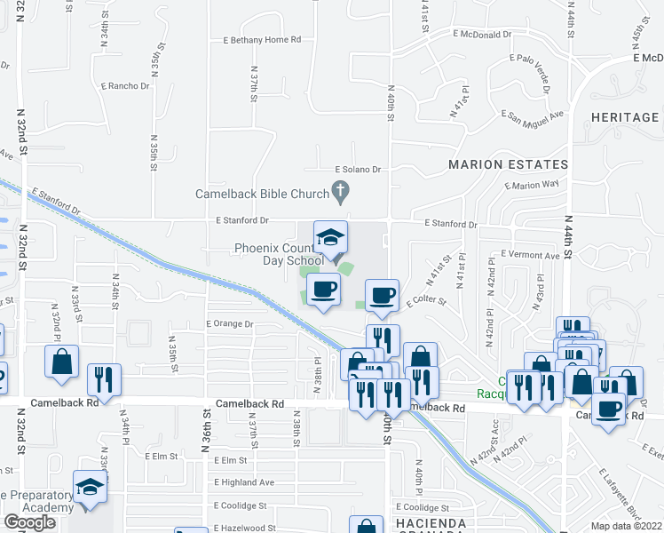 map of restaurants, bars, coffee shops, grocery stores, and more near 3901 East Stanford Drive in Phoenix
