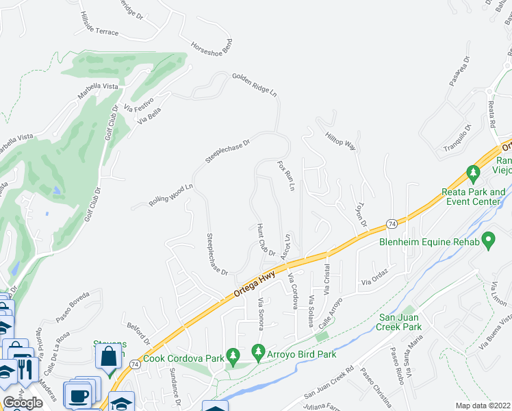 map of restaurants, bars, coffee shops, grocery stores, and more near 30792 Hunt Club Drive in San Juan Capistrano