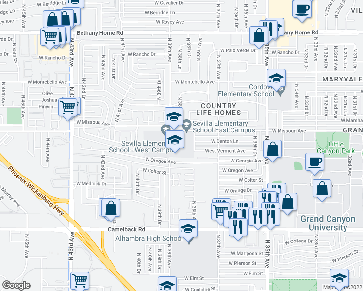 map of restaurants, bars, coffee shops, grocery stores, and more near 5450-5498 North 38th Avenue in Phoenix