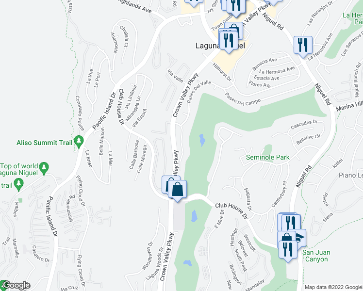 map of restaurants, bars, coffee shops, grocery stores, and more near Paseo Del Niguel in Laguna Niguel