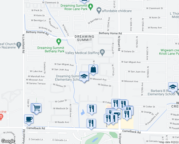 map of restaurants, bars, coffee shops, grocery stores, and more near 5615 North Lyle Court in Litchfield Park