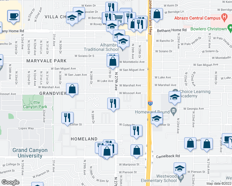 map of restaurants, bars, coffee shops, grocery stores, and more near 5502 North 27th Avenue in Phoenix