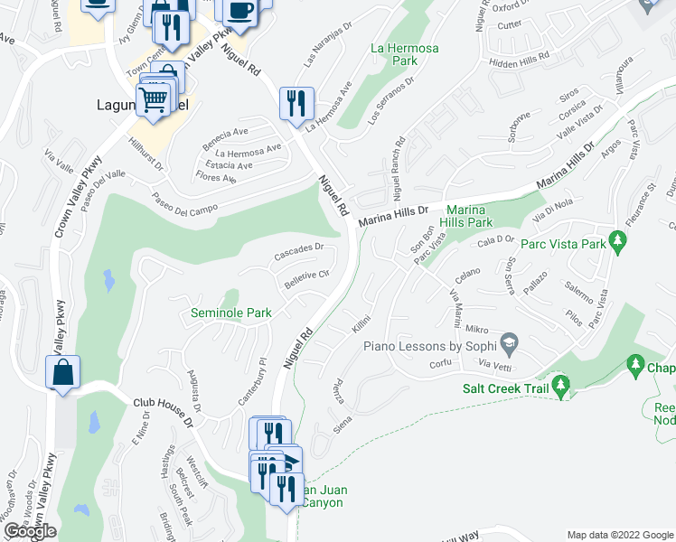 map of restaurants, bars, coffee shops, grocery stores, and more near 24302 Bellerive Circle in Laguna Niguel