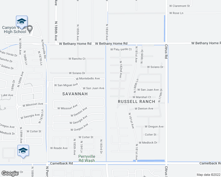 map of restaurants, bars, coffee shops, grocery stores, and more near 18232 West San Juan Court in Litchfield Park