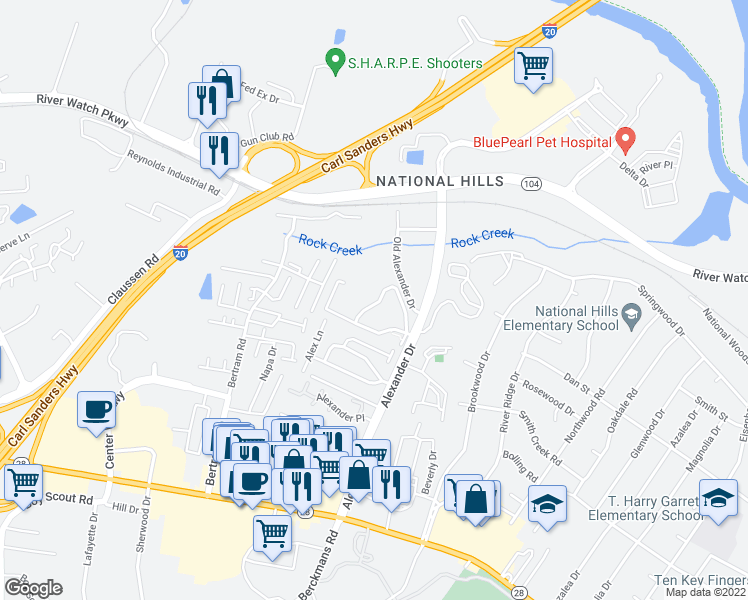 map of restaurants, bars, coffee shops, grocery stores, and more near 1035 Alexander Drive in Augusta