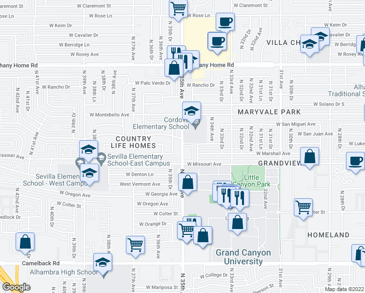 map of restaurants, bars, coffee shops, grocery stores, and more near North 35th Avenue in Phoenix
