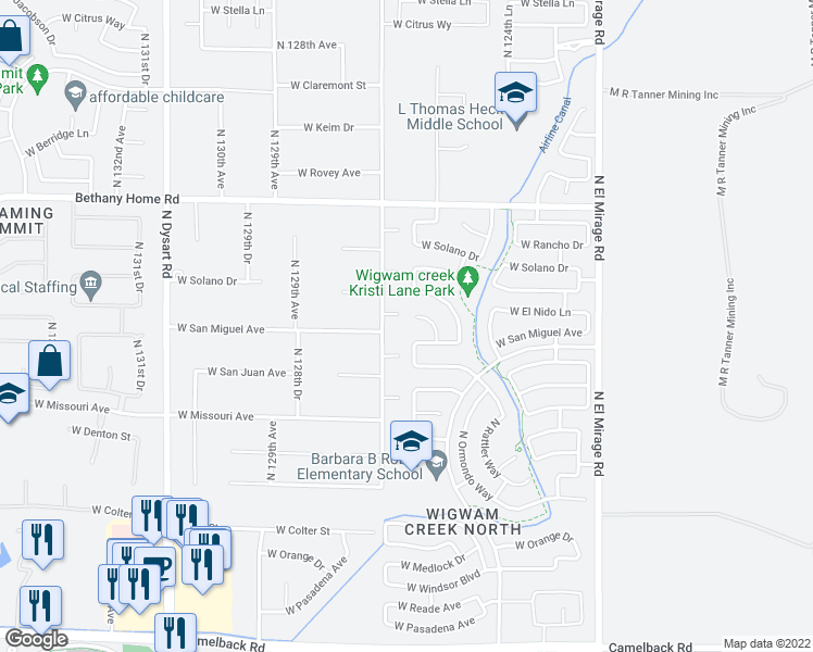 map of restaurants, bars, coffee shops, grocery stores, and more near 12659 West El Nido Court in Litchfield Park