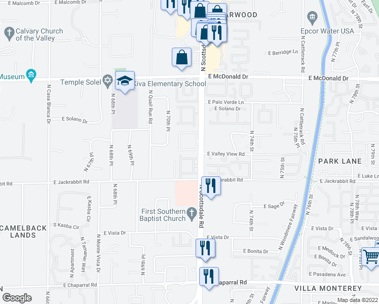map of restaurants, bars, coffee shops, grocery stores, and more near 5616 North Scottsdale Road in Paradise Valley