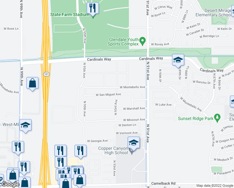 map of restaurants, bars, coffee shops, grocery stores, and more near 9302 West San Miguel Avenue in Glendale