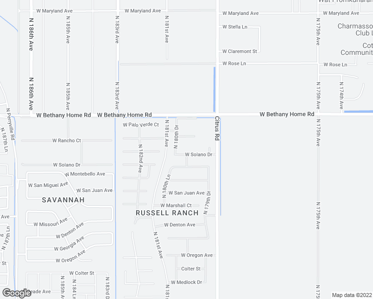 map of restaurants, bars, coffee shops, grocery stores, and more near 18010 West Solano Drive in Litchfield Park