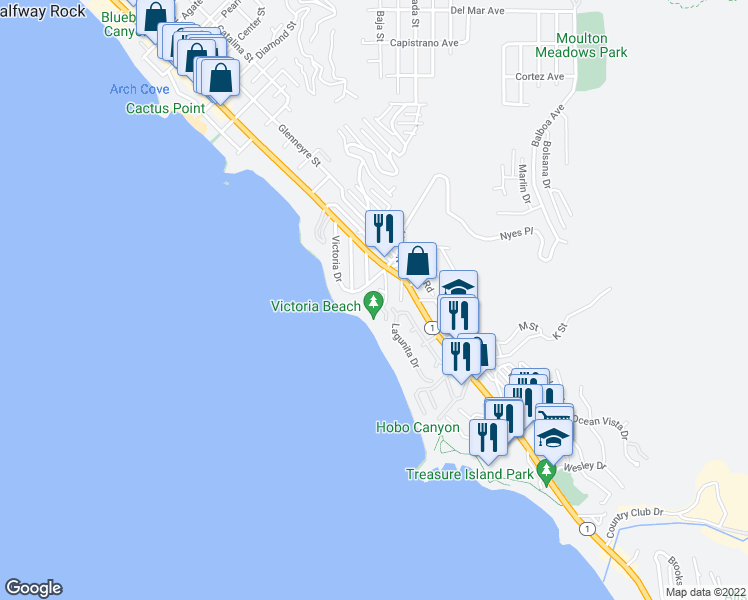 map of restaurants, bars, coffee shops, grocery stores, and more near 2713 Victoria Drive in Laguna Beach