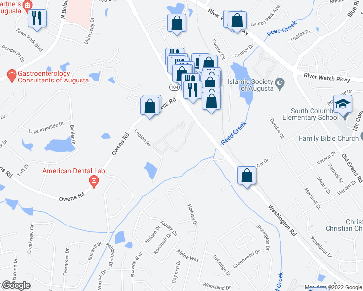 map of restaurants, bars, coffee shops, grocery stores, and more near 650 Thoroughbred Lane in Evans