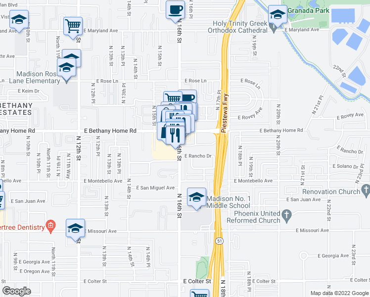 map of restaurants, bars, coffee shops, grocery stores, and more near 1609 East Palo Verde Drive in Phoenix