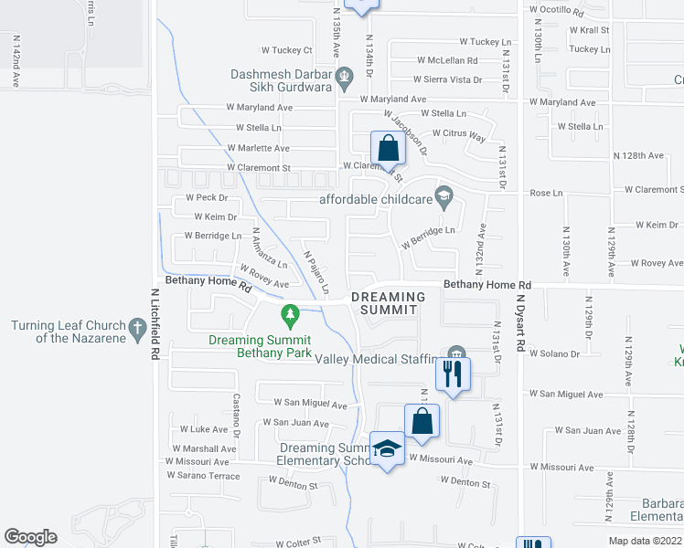 map of restaurants, bars, coffee shops, grocery stores, and more near 6022 North Florence Avenue in Litchfield Park