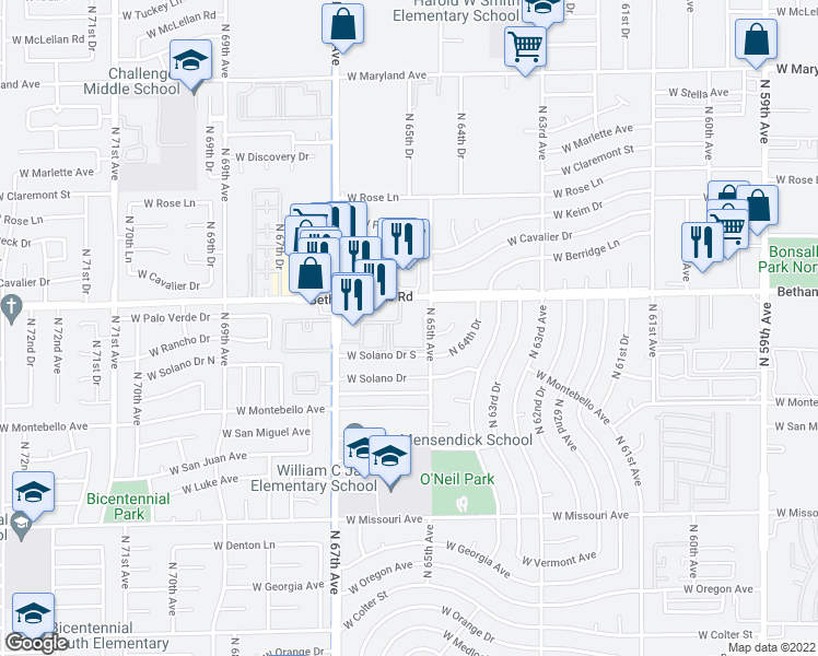 map of restaurants, bars, coffee shops, grocery stores, and more near 6565 West Bethany Home Road in Glendale