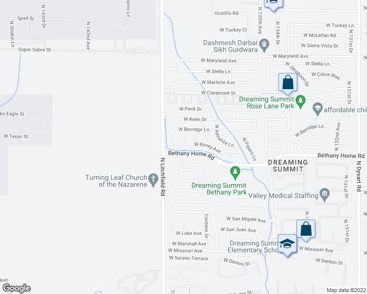 map of restaurants, bars, coffee shops, grocery stores, and more near 13817 West Rovey Avenue in Litchfield Park