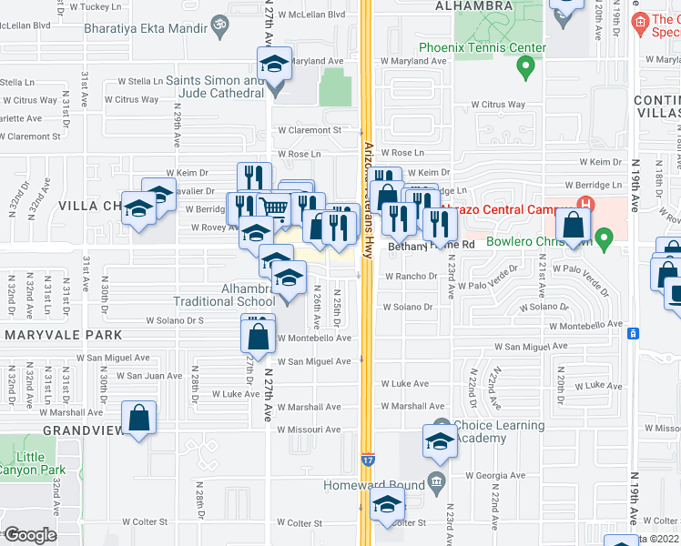 map of restaurants, bars, coffee shops, grocery stores, and more near 2522 West Palo Verde Drive in Phoenix
