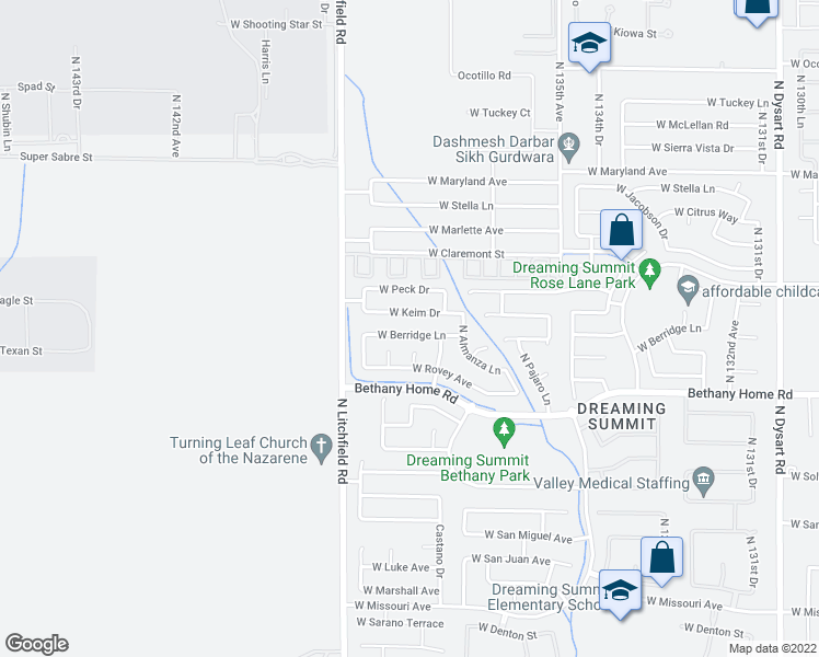 map of restaurants, bars, coffee shops, grocery stores, and more near 13742 West Berridge Lane in Litchfield Park