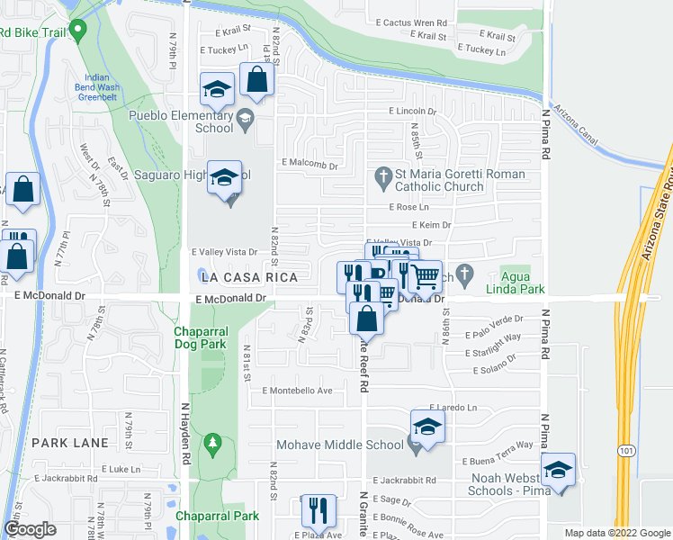 map of restaurants, bars, coffee shops, grocery stores, and more near 8310 East McDonald Drive in Scottsdale