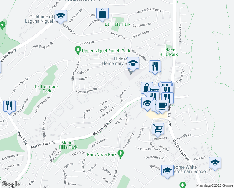 map of restaurants, bars, coffee shops, grocery stores, and more near 21 Genoa in Laguna Niguel