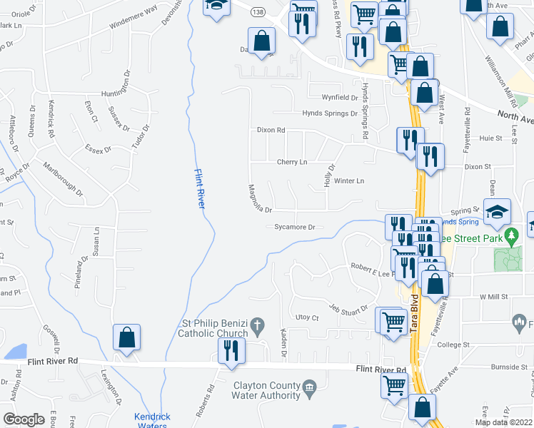 map of restaurants, bars, coffee shops, grocery stores, and more near 8391 Magnolia Drive in Jonesboro
