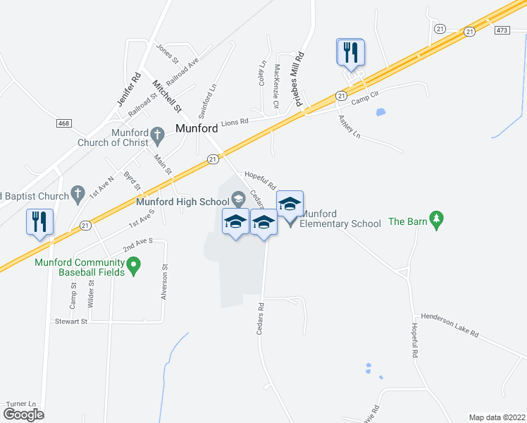 map of restaurants, bars, coffee shops, grocery stores, and more near 104-470 Cedars Road in Munford