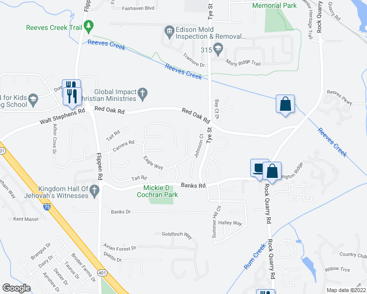 map of restaurants, bars, coffee shops, grocery stores, and more near 297 Eagle Way in Stockbridge